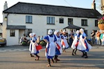 Plymouth Maids performing outside the Weary Friar in Pillaton