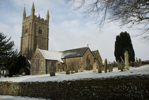 View of Pillaton church in the snow