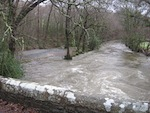 River at Clapper Bridge in spate