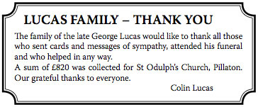 Message of thanks re the late George Lucas