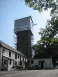 Scaffolding on Pillaton church tower